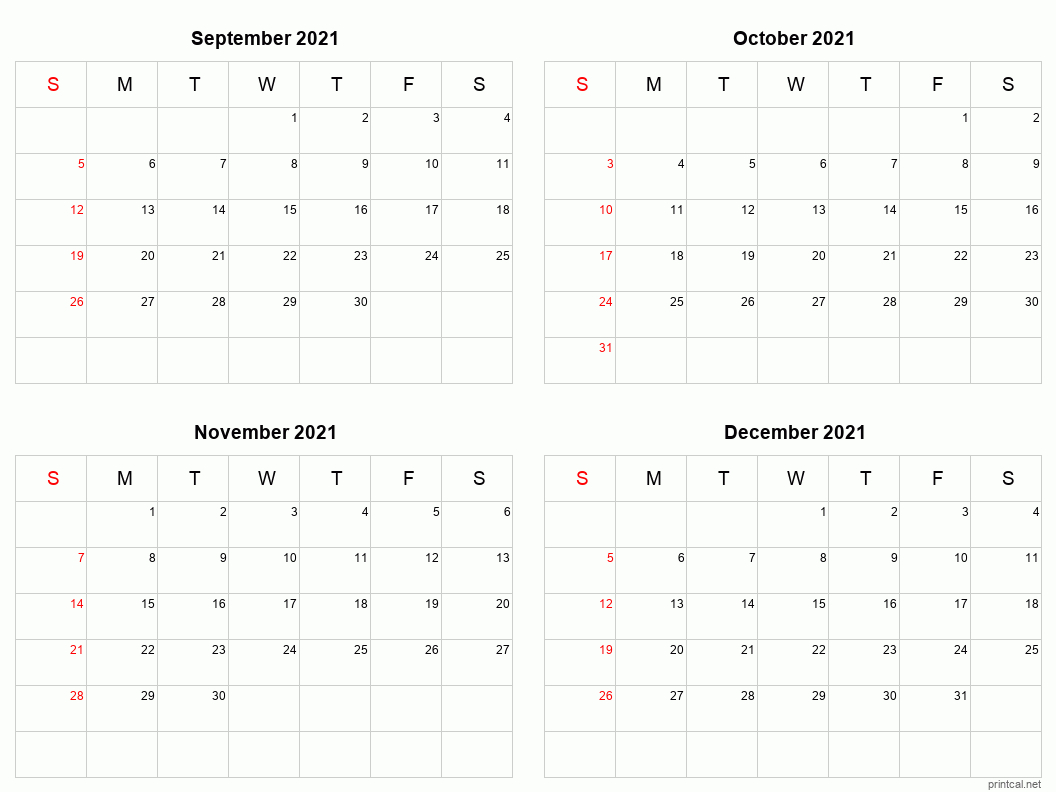 Printable 2021 Calendar - Four Months Per Page   Free