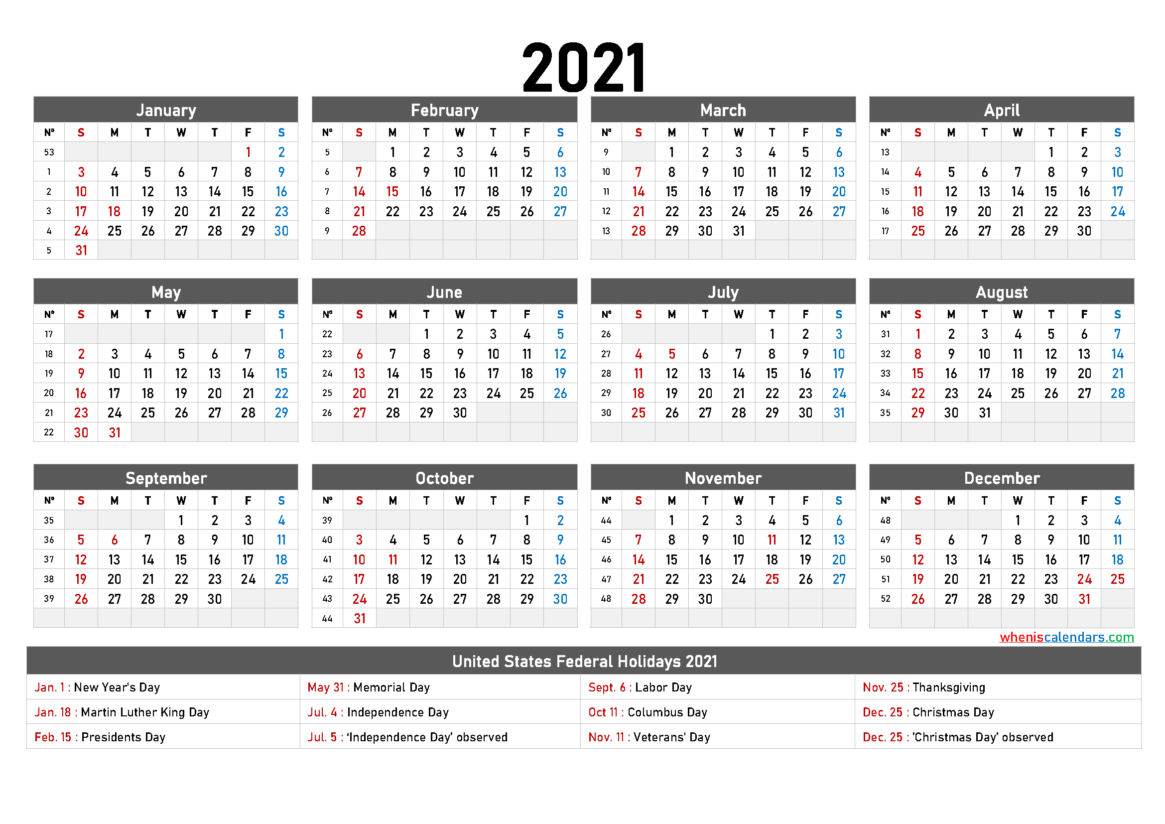 Printable 2021 Calendar One Page - 6 Templates - Free Printable 2021 Monthly Calendar With Holidays