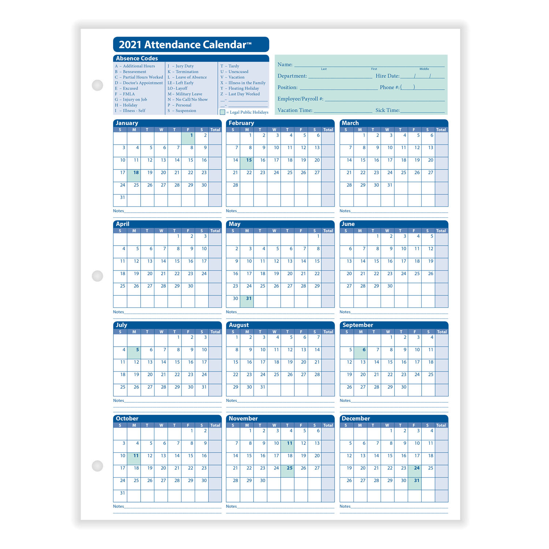 Printable 2021 Employee Attendance Calendar | Printable