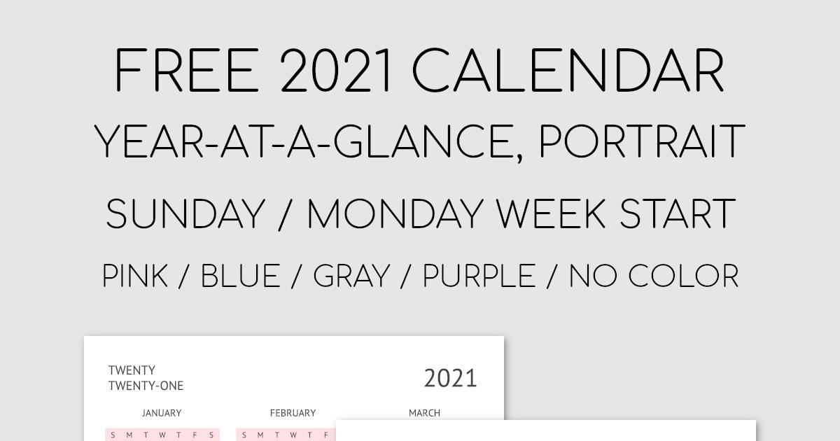 Printable 2021 Year-At-A-Glance Calendar