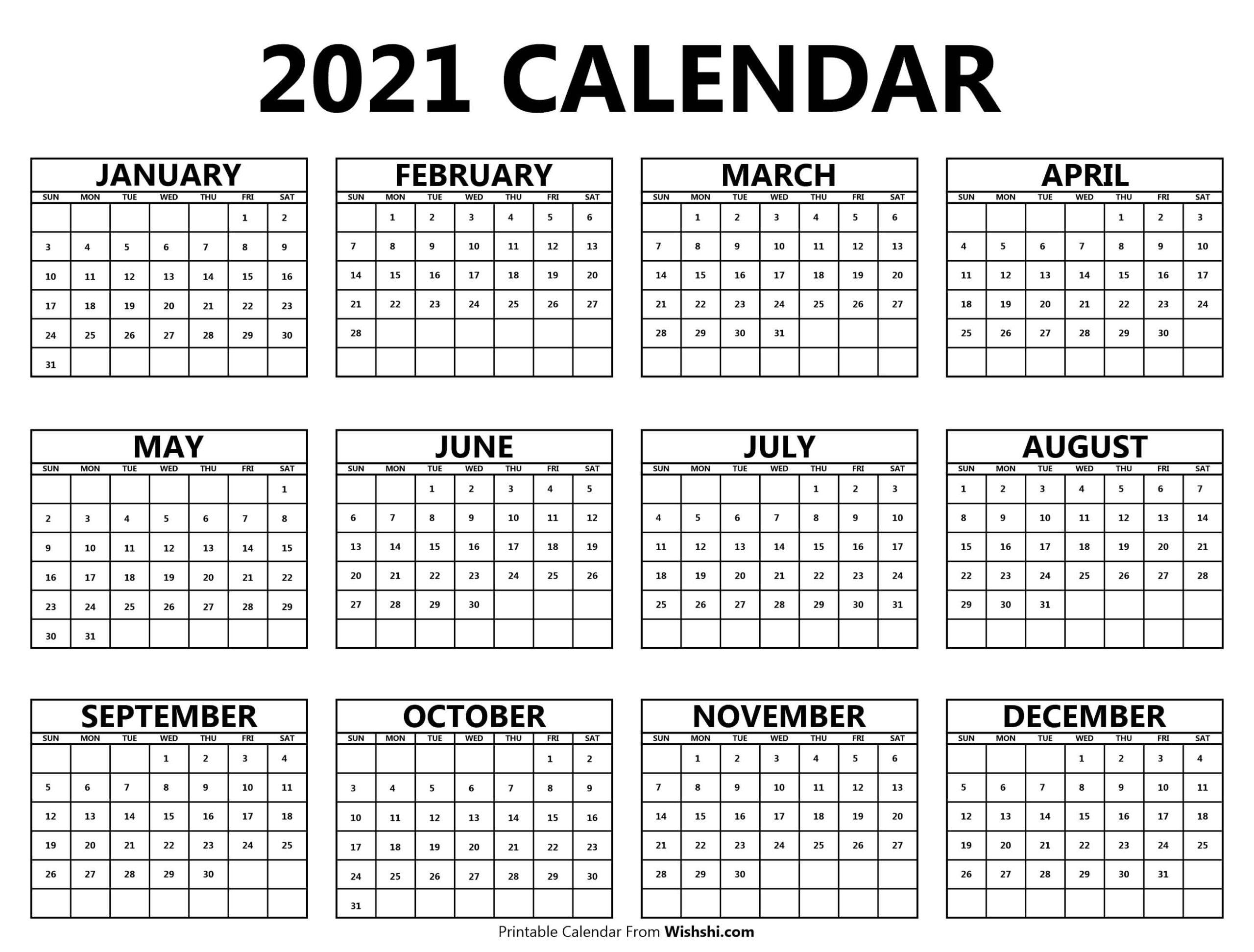 Printable 2021 Yearly Calendar - Free Printable Calendars