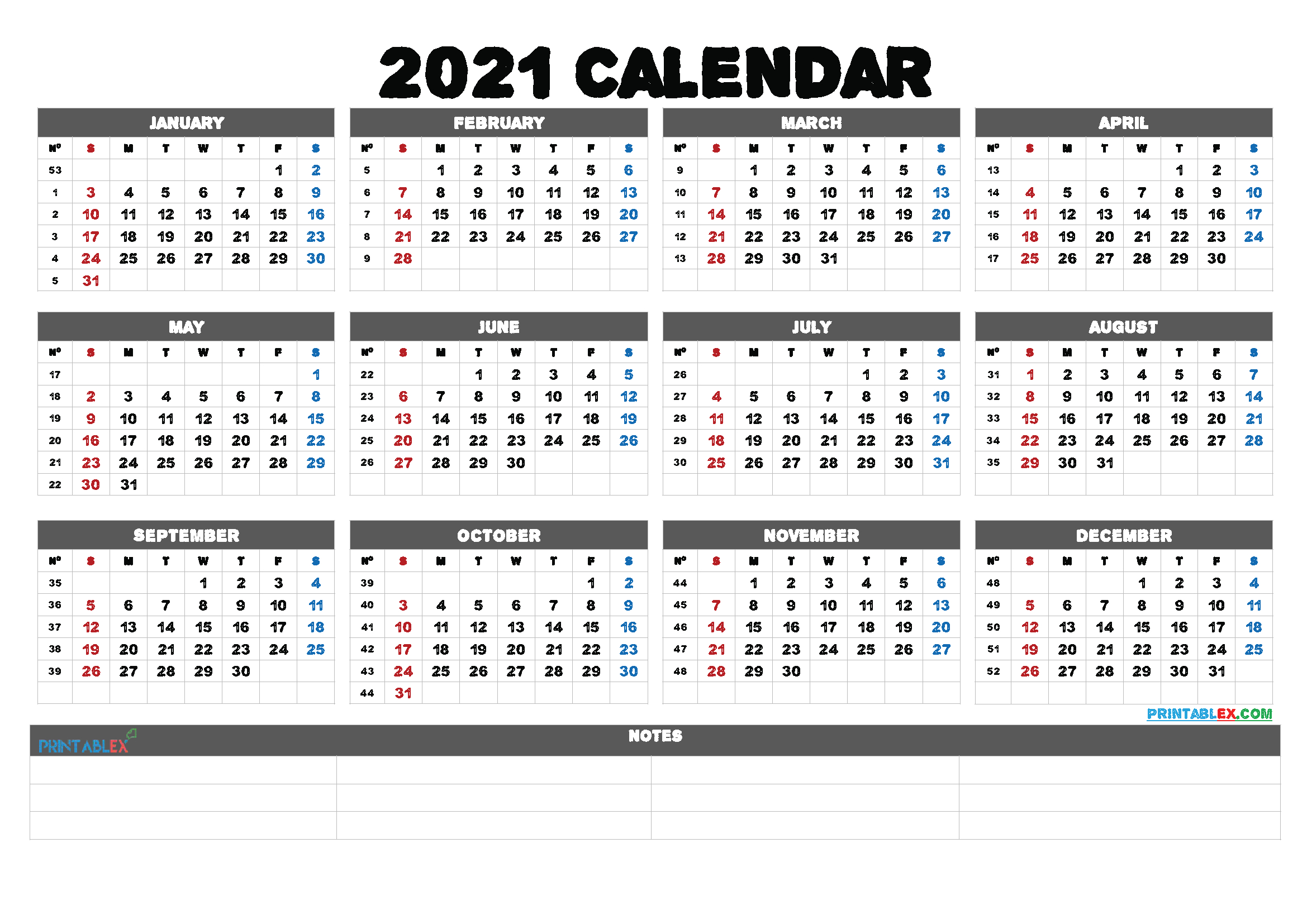 Printable 5 By 8 2021 Calendar - 8 5 X 11 Inch Bold 2021