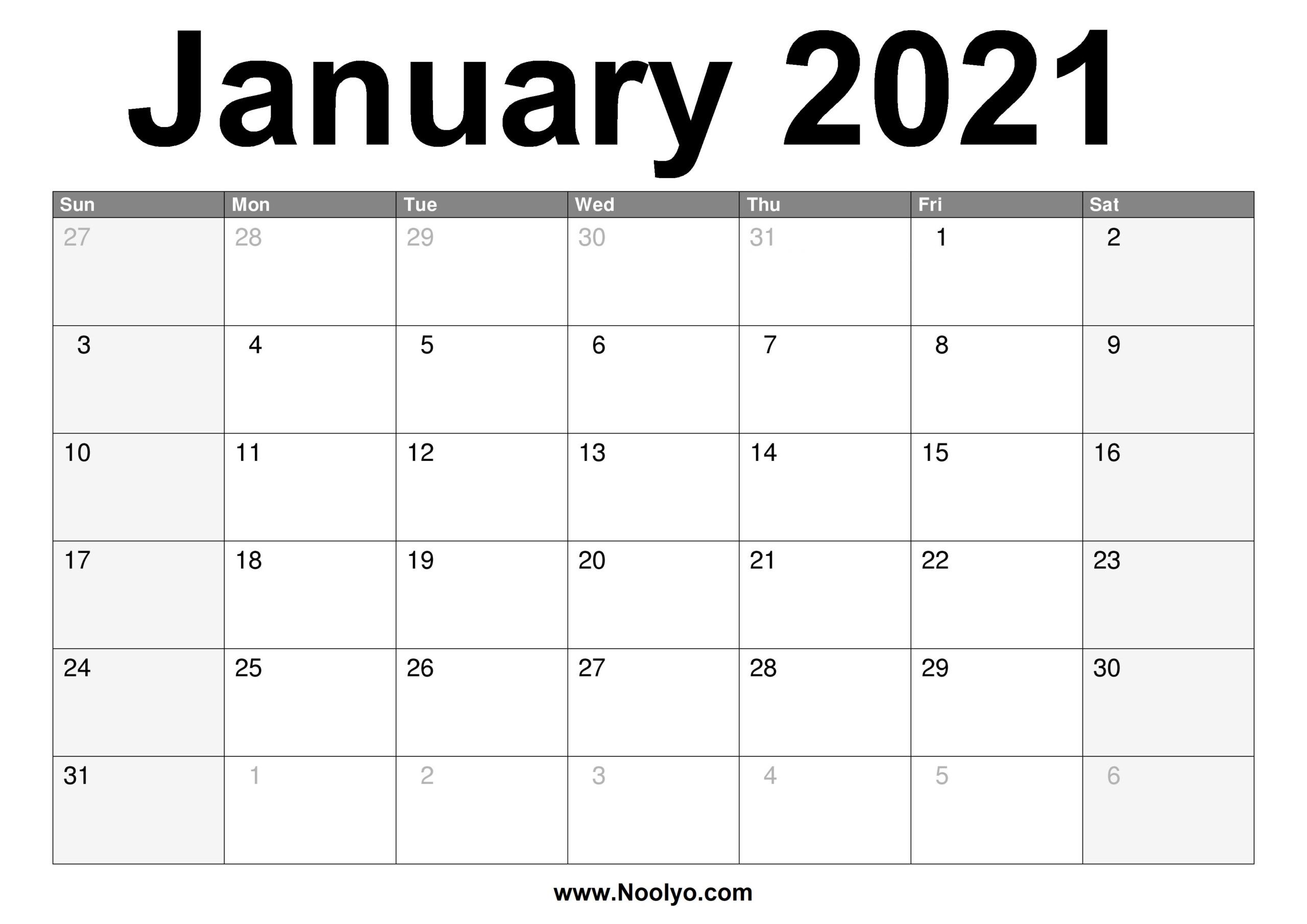 Printable A4 Monthly Calendar 2021 | Free 2021 Printable