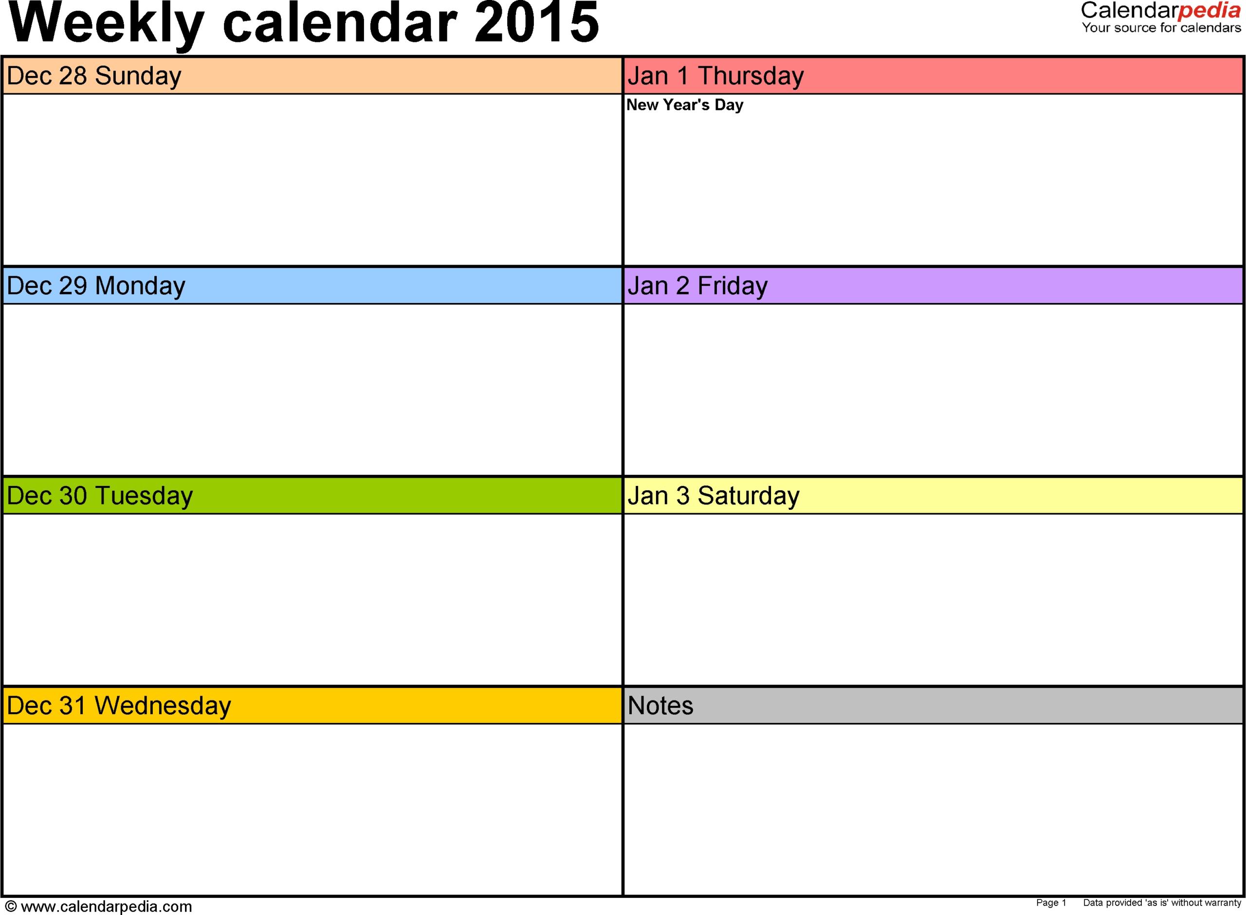 Printable Appointment Calendars Monday Through Friday - Template Calendar Design