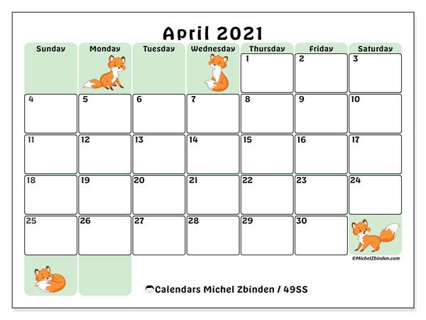 """Printable April 2021 """"49Ss"""" Calendar - Michel Zbinden En"""