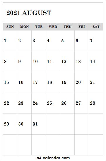 Printable August 2021 Calendar Template - 2021 August Calendar Editable