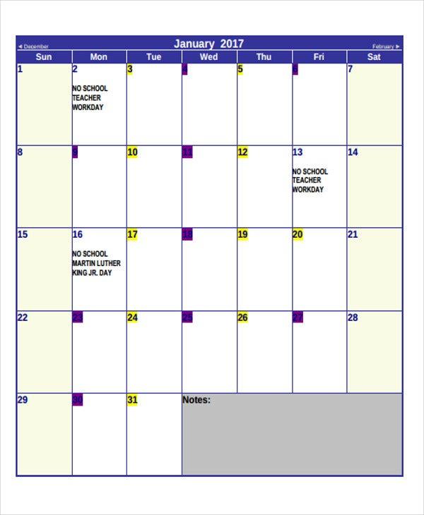 Printable Blank Calendar Template - 9+ Free Word, Excel