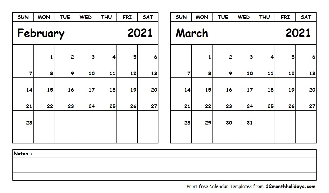 Printable Blank Two Month Calendar February March 2021