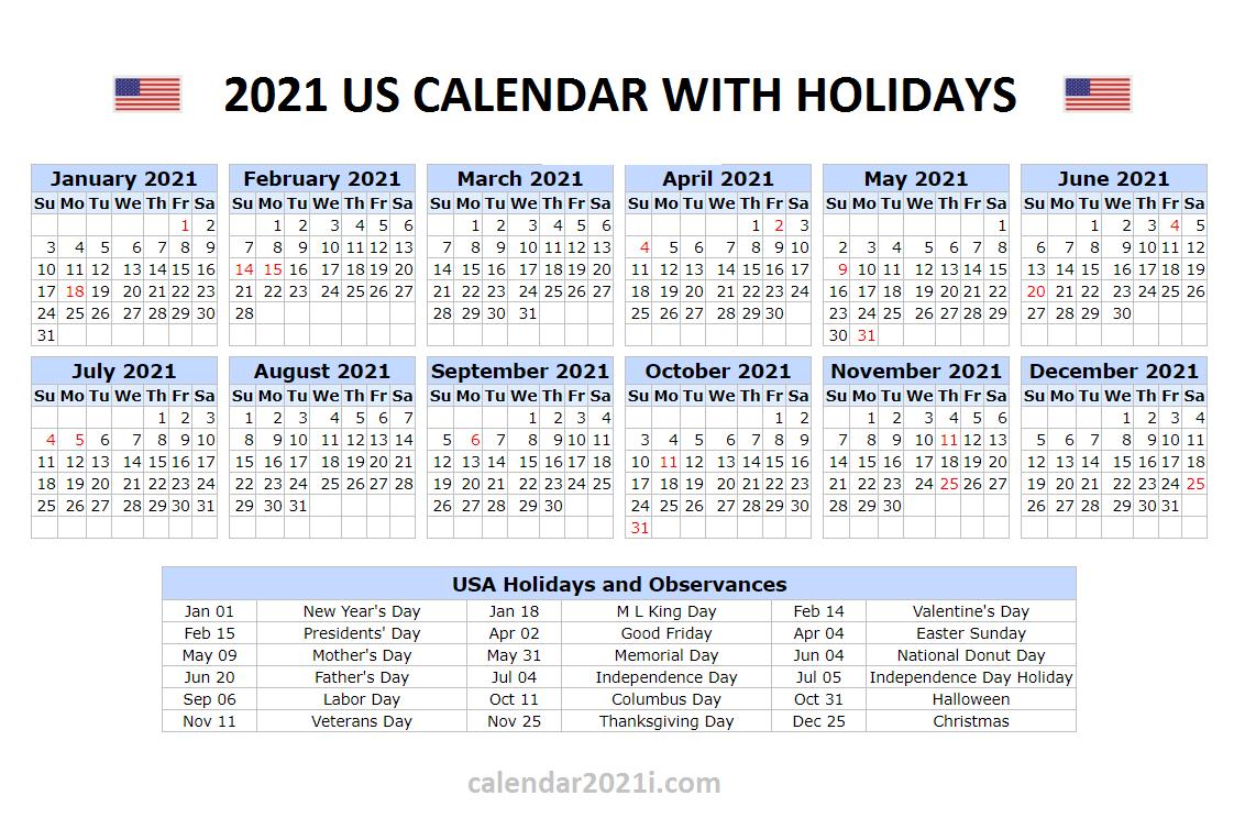 Printable Calendar 2021 With Holidays Usa