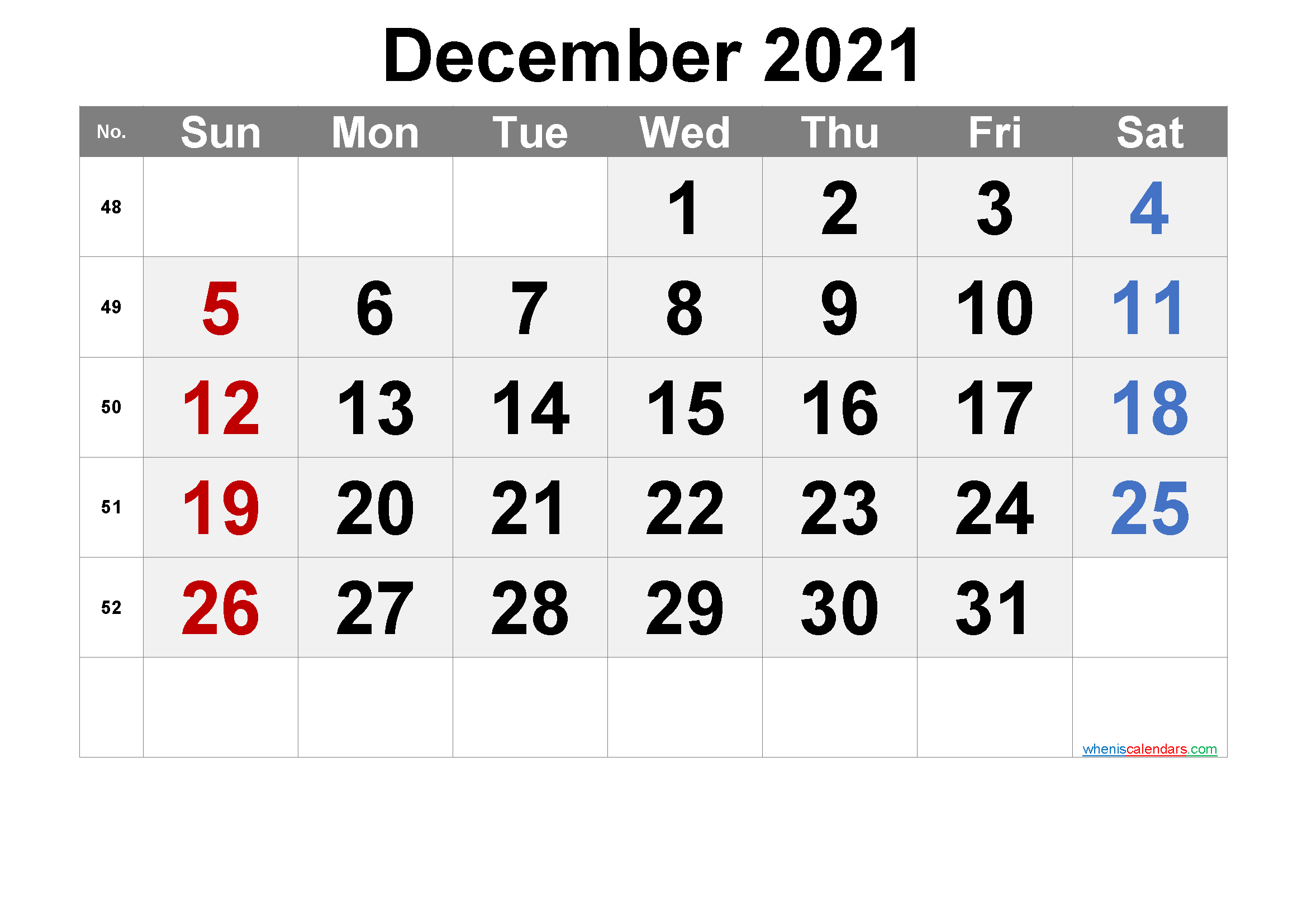 Printable Calendar December 2021 - 6 Templates
