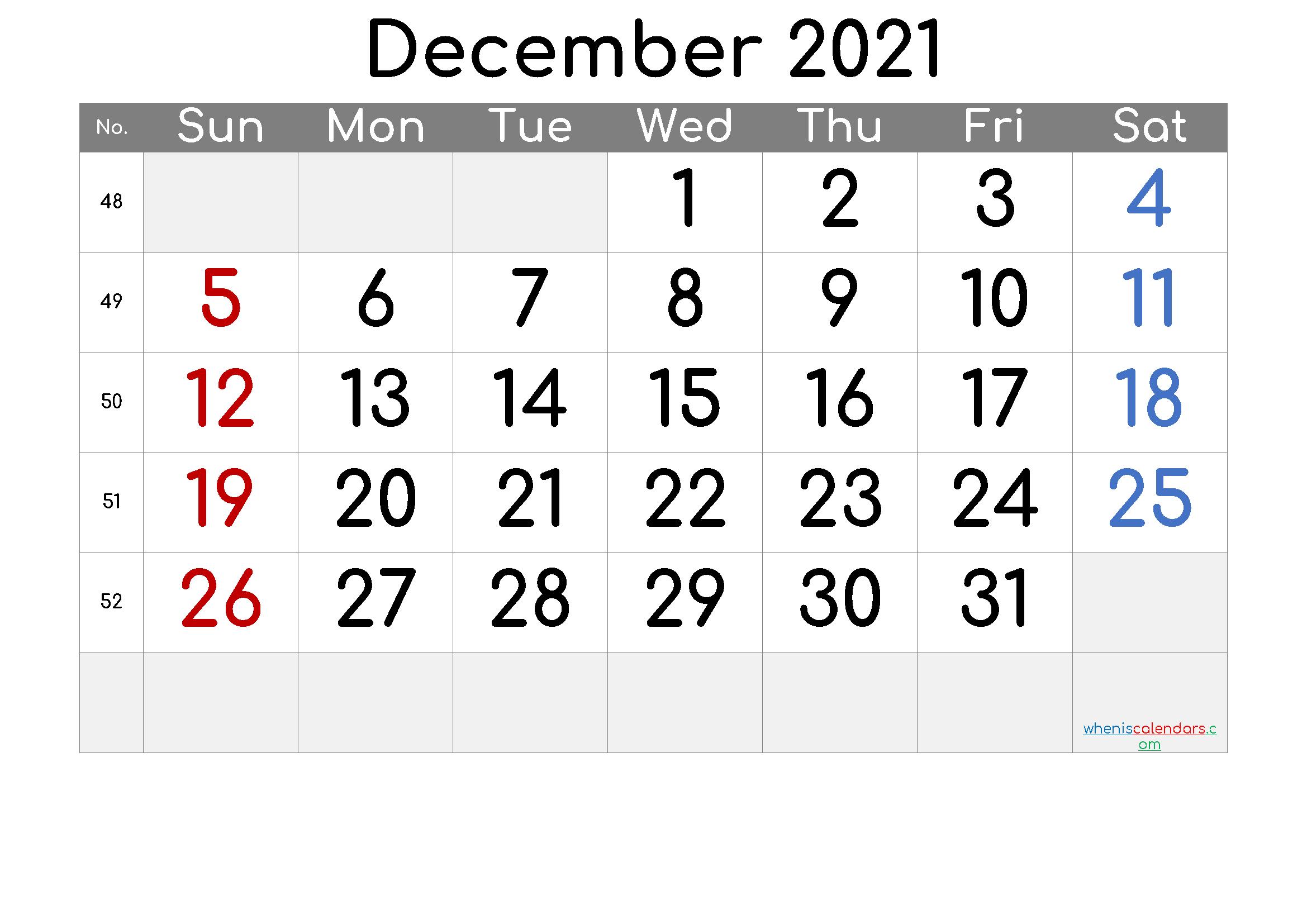 Printable Calendar December 2021 [Free Premium]