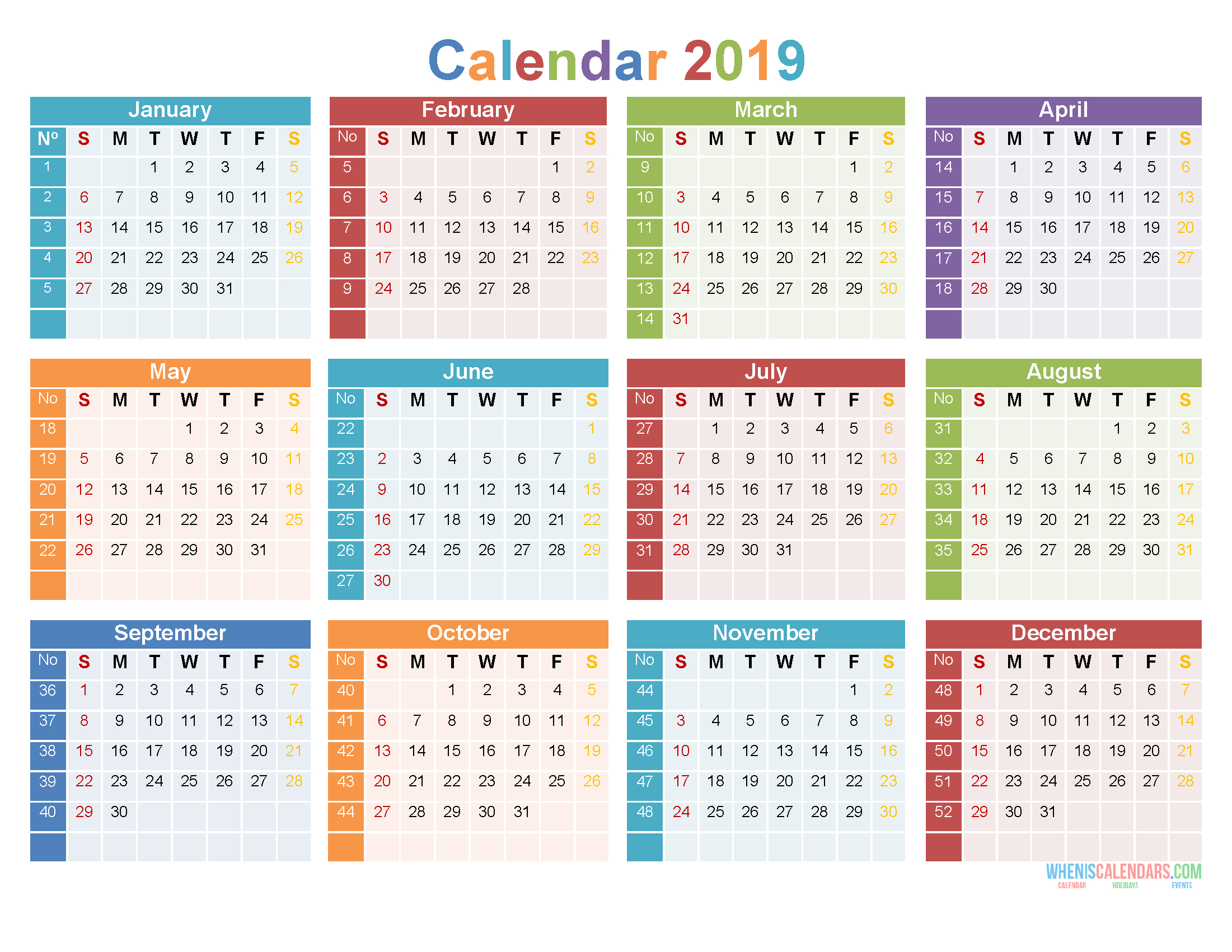 Printable Calendar With Large Numbers | Calendar Template
