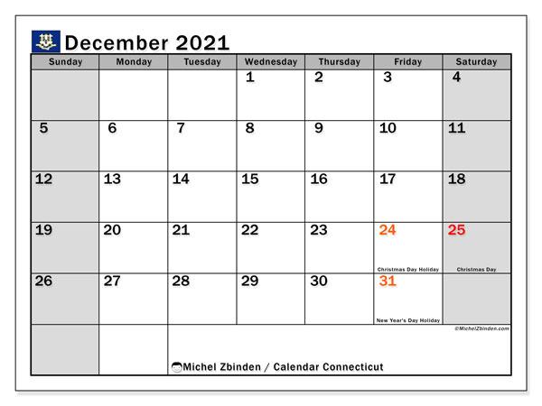 "Printable December 2021 ""Connecticut"" Calendar - Michel"