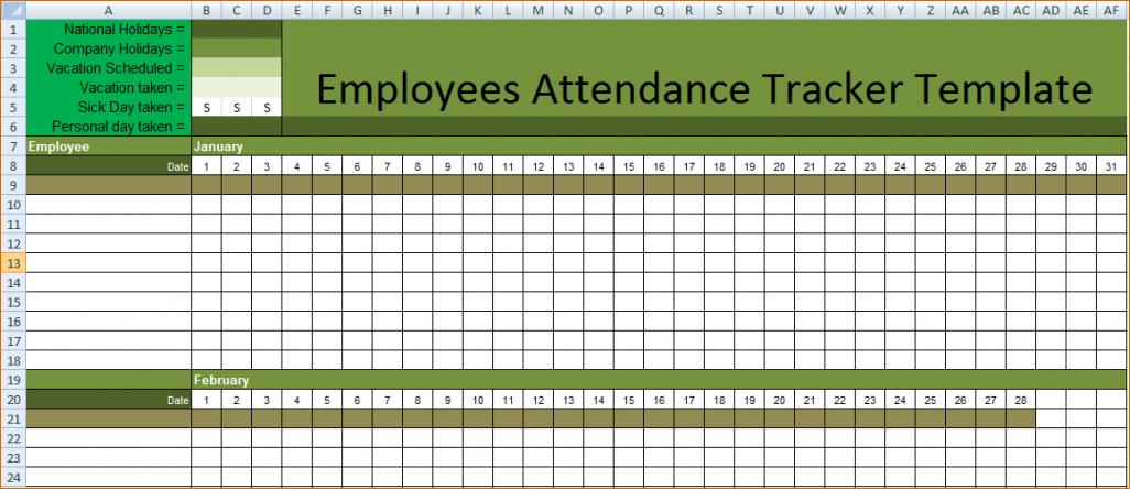 Printable Employees Attendance Sheet Templates Calendar