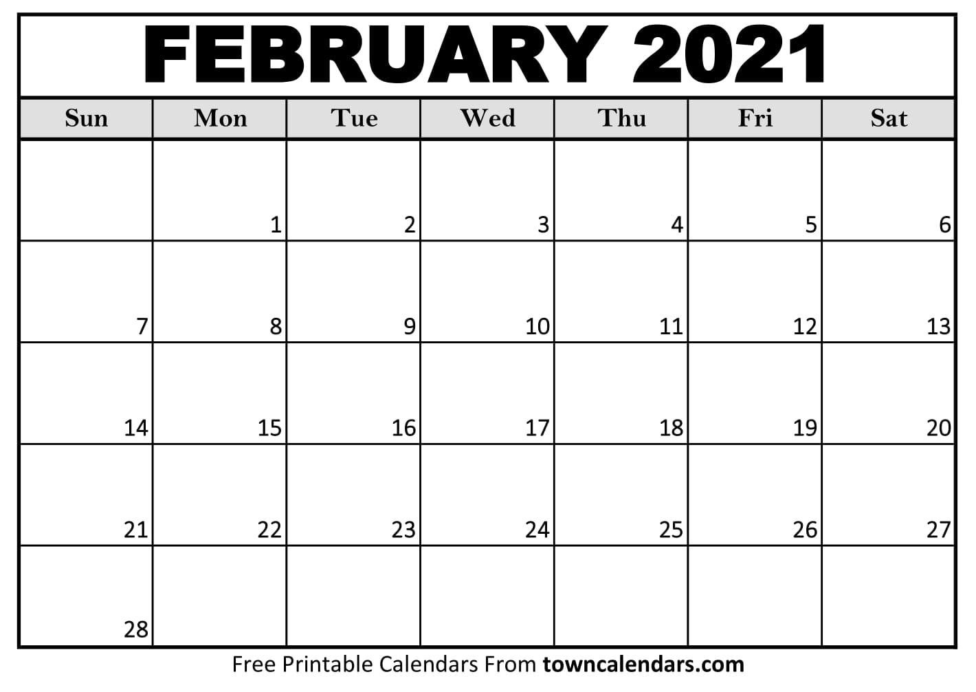 Printable February 2021 Calendar - Towncalendars