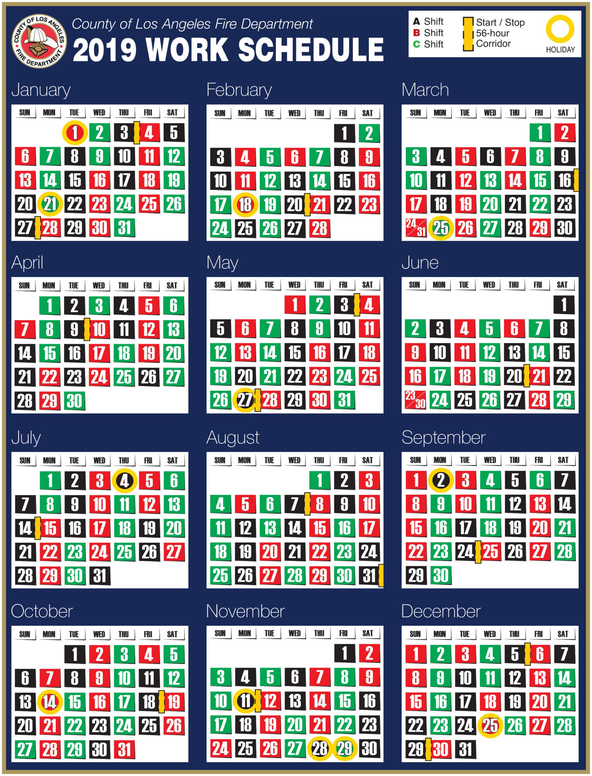Printable Firefighter Shift Calendar 2020   Example