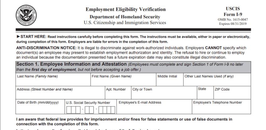 Printable Irs I-9 Form 2020
