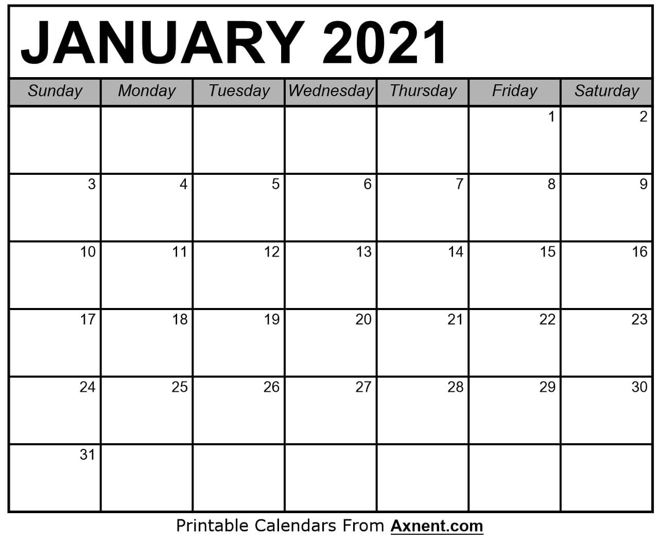 Printable January 2021 Calendar Template - Time Management