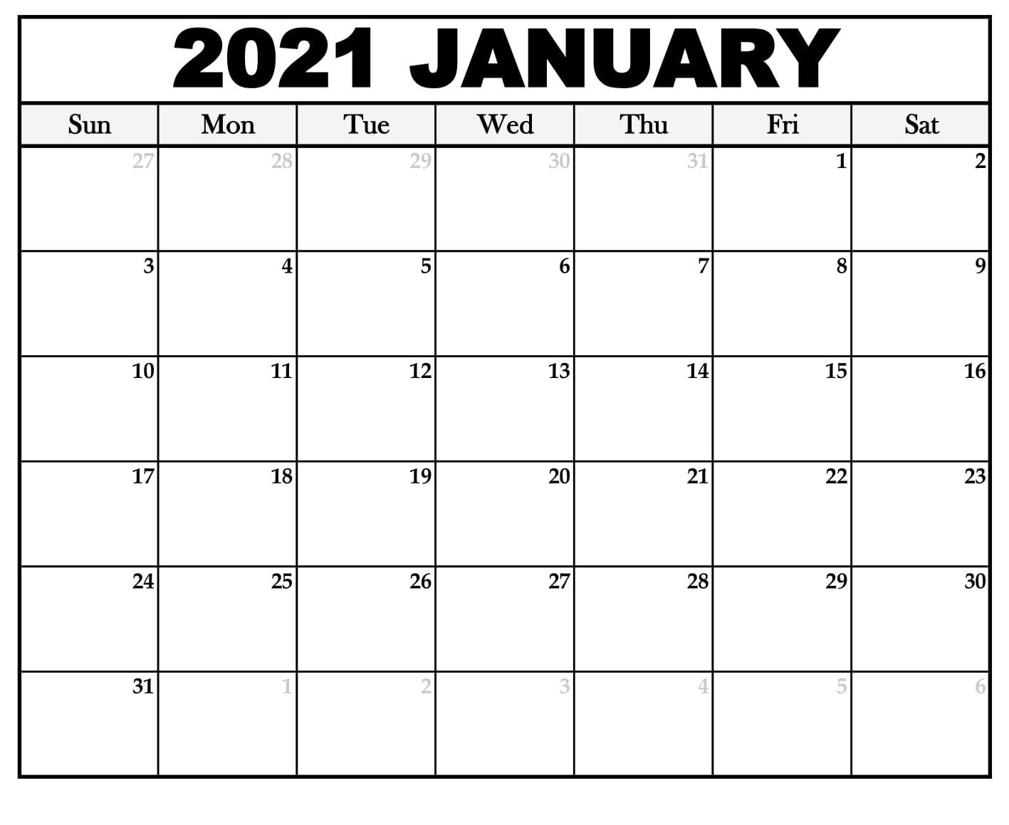 Printable January 2021 Calendar Template | Zudocalendrio