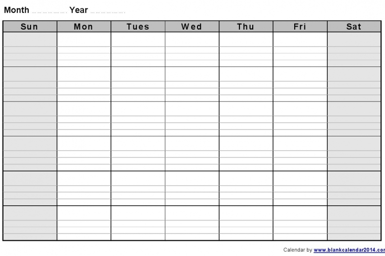 Printable Lined Monthly Calendar :-Free Calendar Template