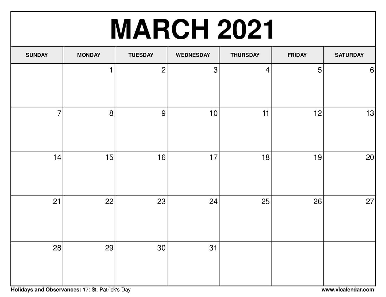 Printable March 2021 Calendars