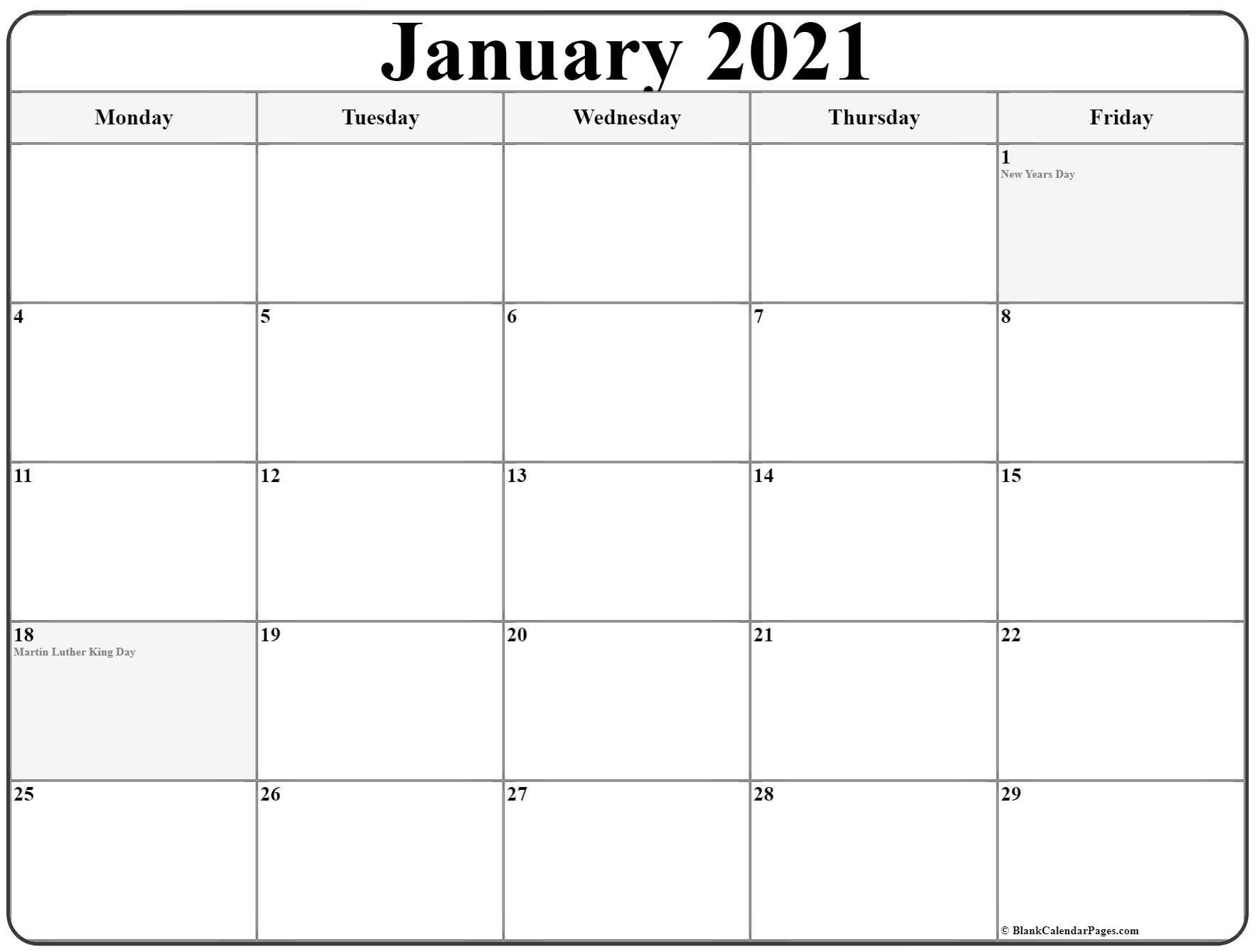 Printable Monday Through Sunday Calendar 2021 | Best