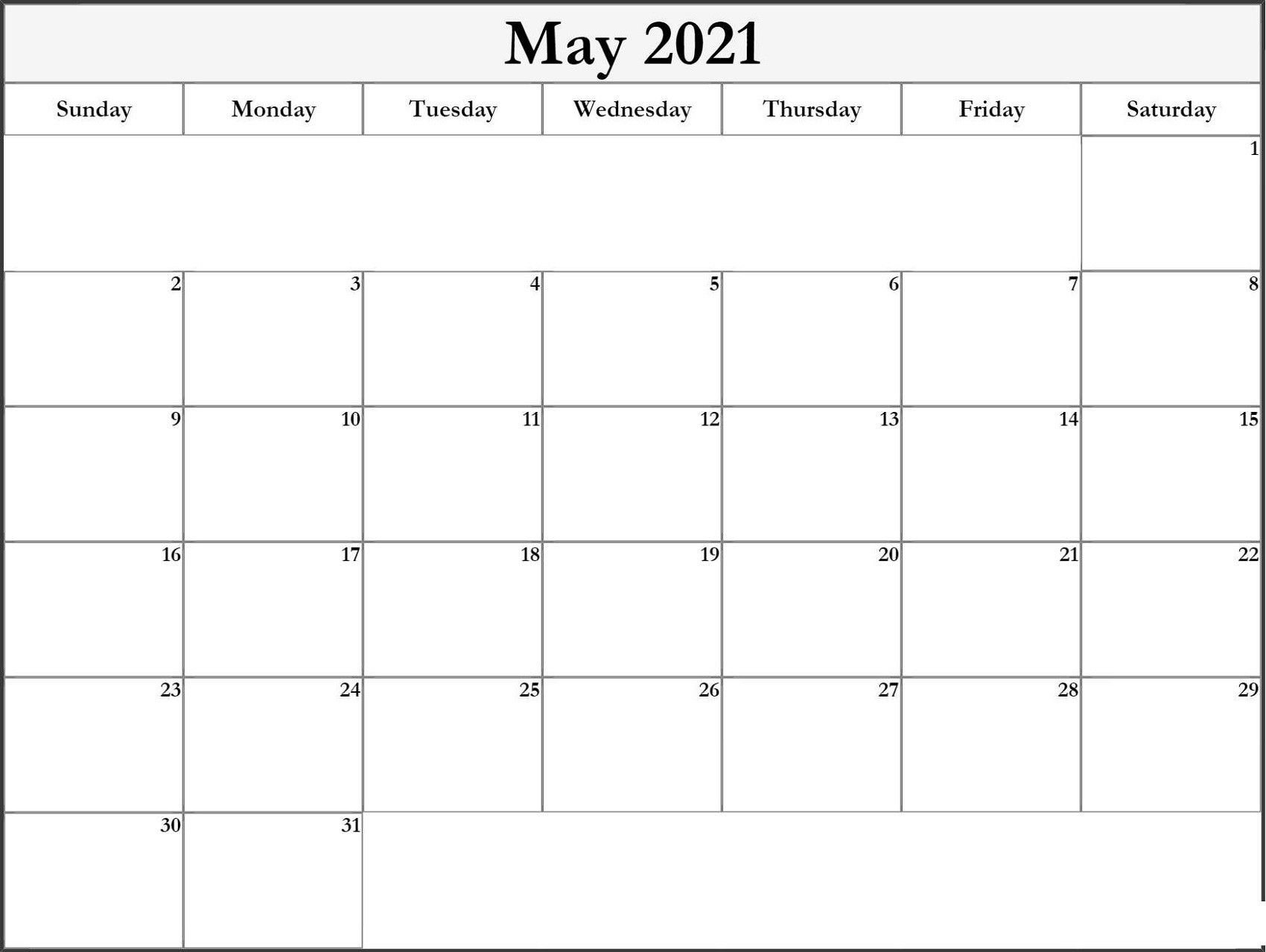 Printable Monthly Calendar 2021 Big Font Free Usage | Free