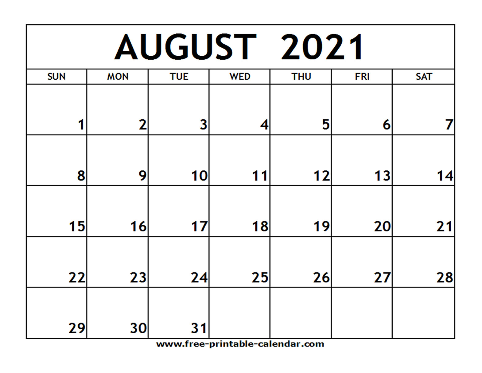 Printable Monthly Calendar August 2021 | Free 2021