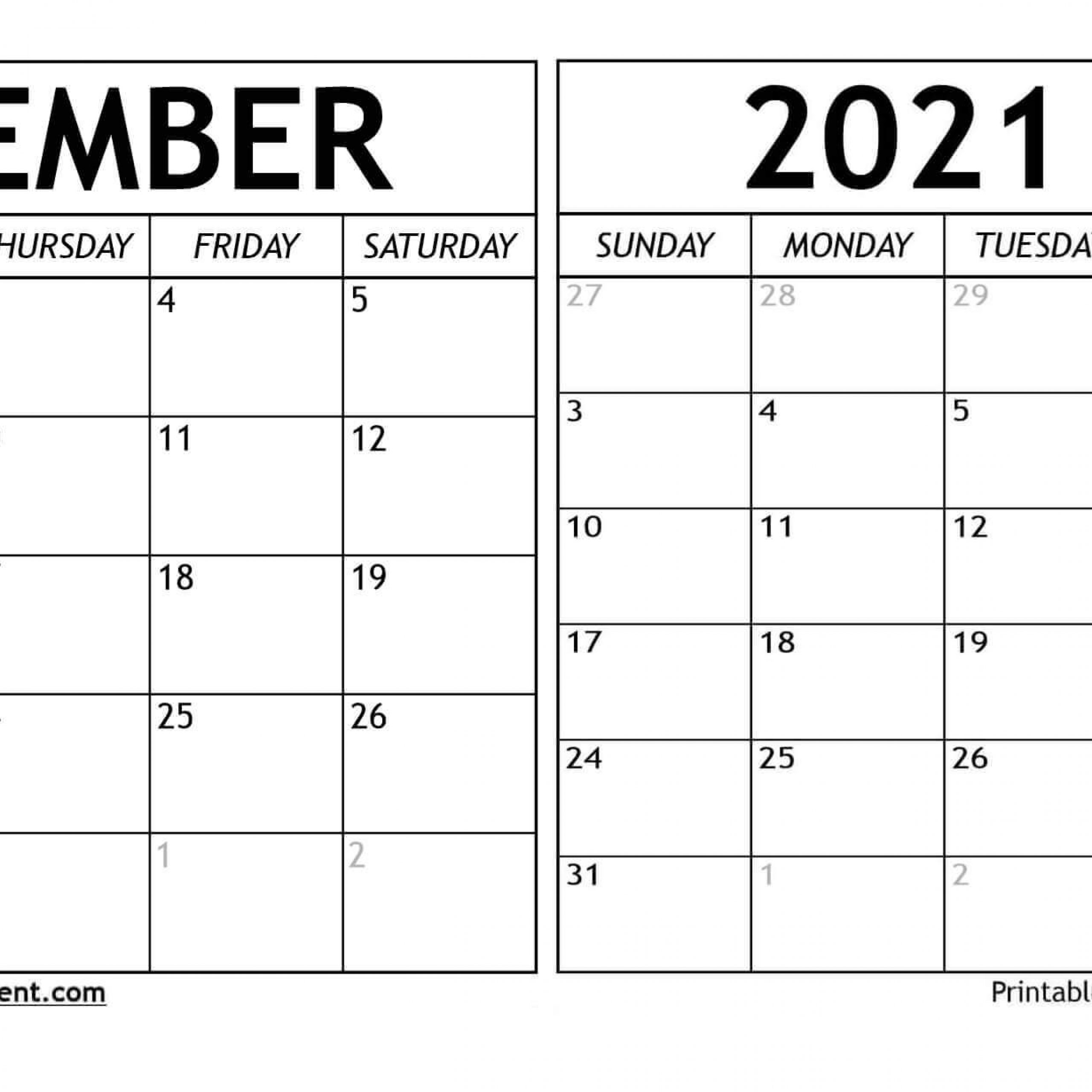 Printable Monthly Calendar December 2020 And January 2021