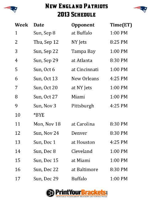 Printable New England Patriots Schedule - 2013 Football