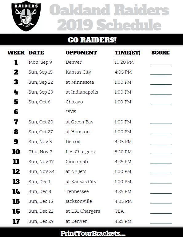 Printable Oakland Raiders Schedule - 2019 Season   Raiders