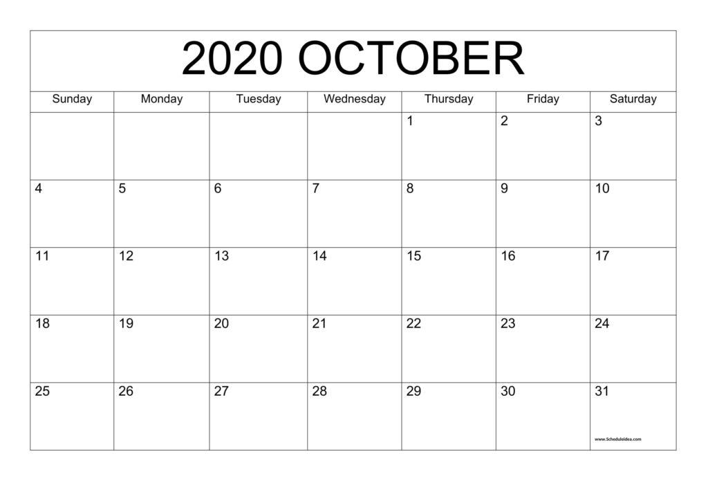 Printable October 2020 Calendar Template - Download Now