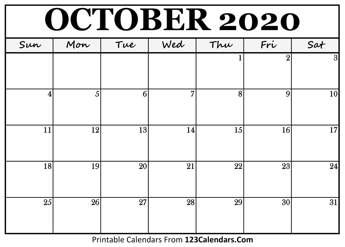 Printable October 2020 Calendar Templates   123Calendars