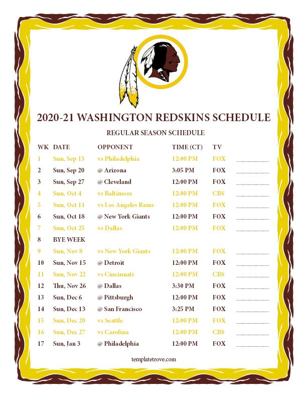 Printable Redskins Schedule 2021 - Printableschedule
