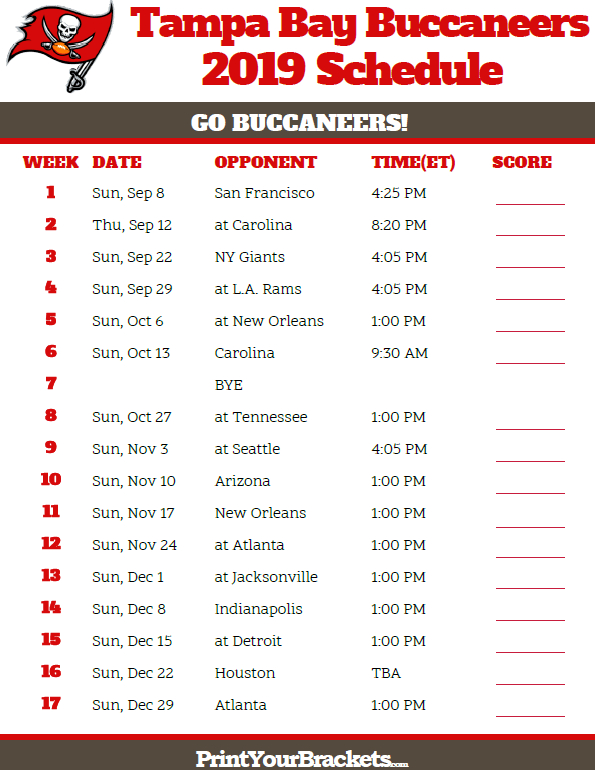 Printable Tampa Bay Buccaneers Schedule - 2019 Season