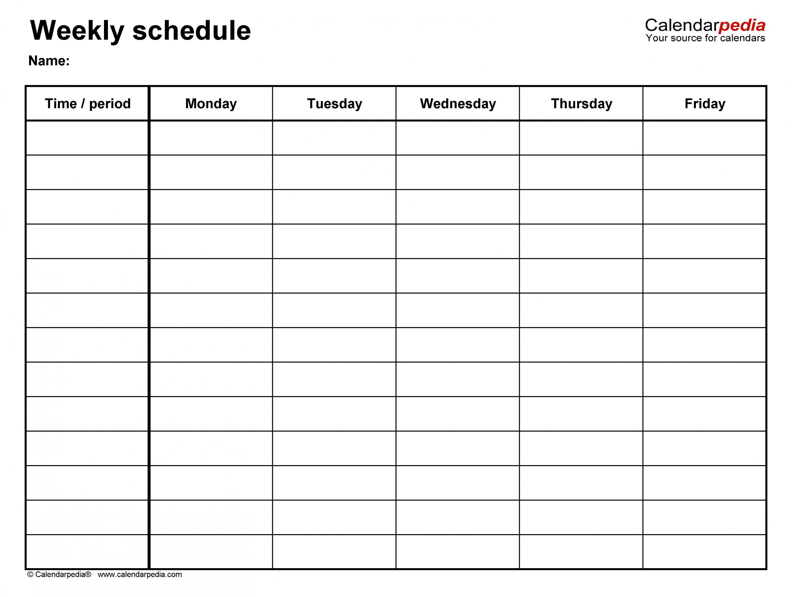 Printable Weekly Calendar Monday Through Friday | Ten Free Printable Calendar 2020-2021