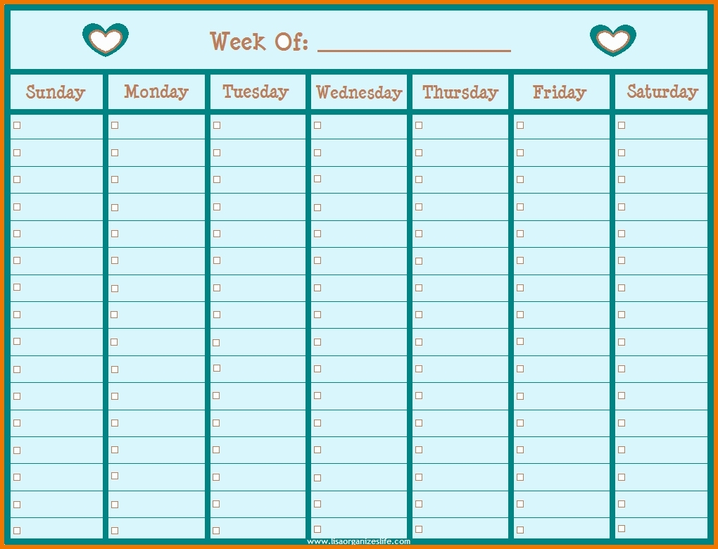 Printable Weekly Schedule With Hours Monday To Friday