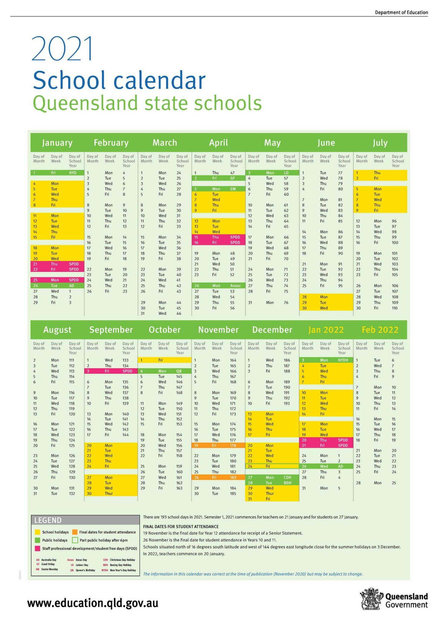 Qld School Calendar 2021 | Computer Plaza