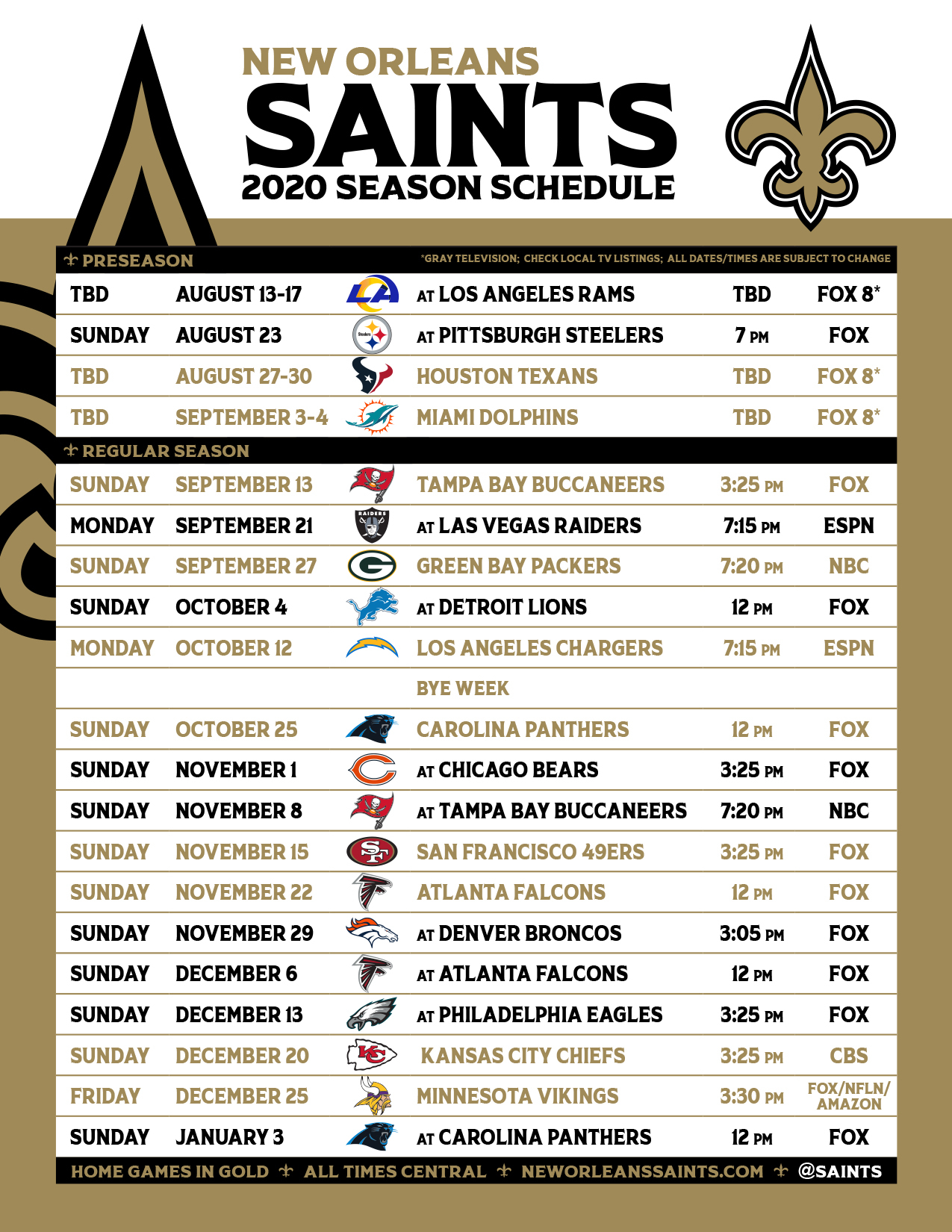 Saints' 2020 Games Include 4 Prime Time Match-Ups; See The