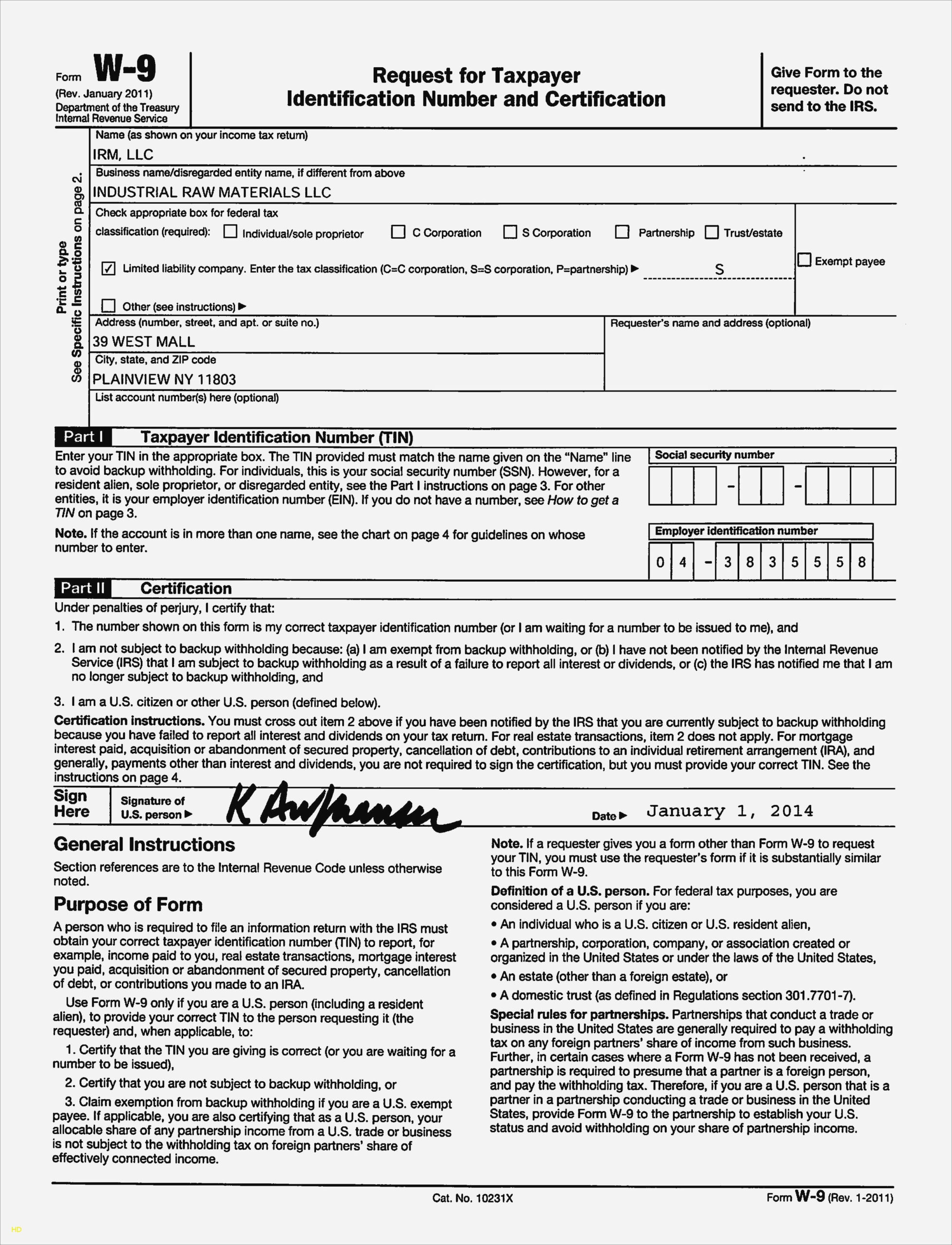 Sample W 9 Form | Example Calendar Printable