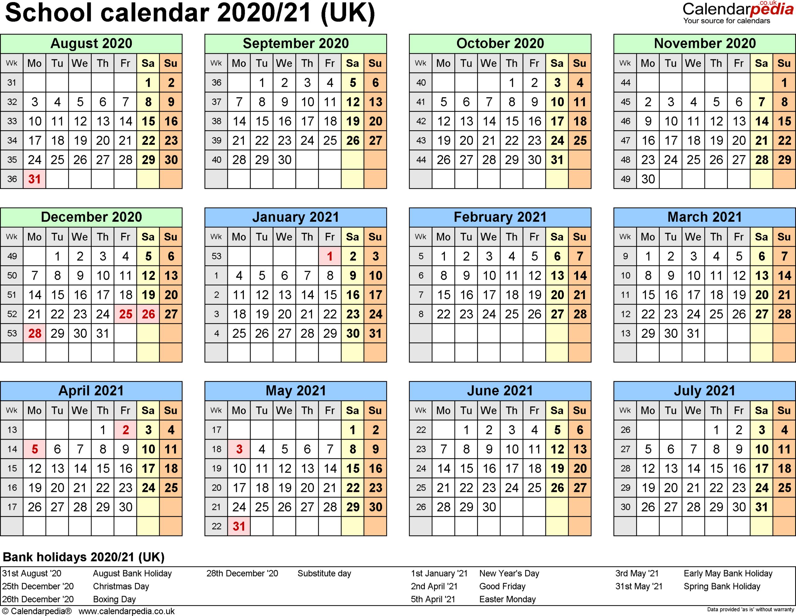 School Calendar 2020 To 2021 | Free Printable Calendar