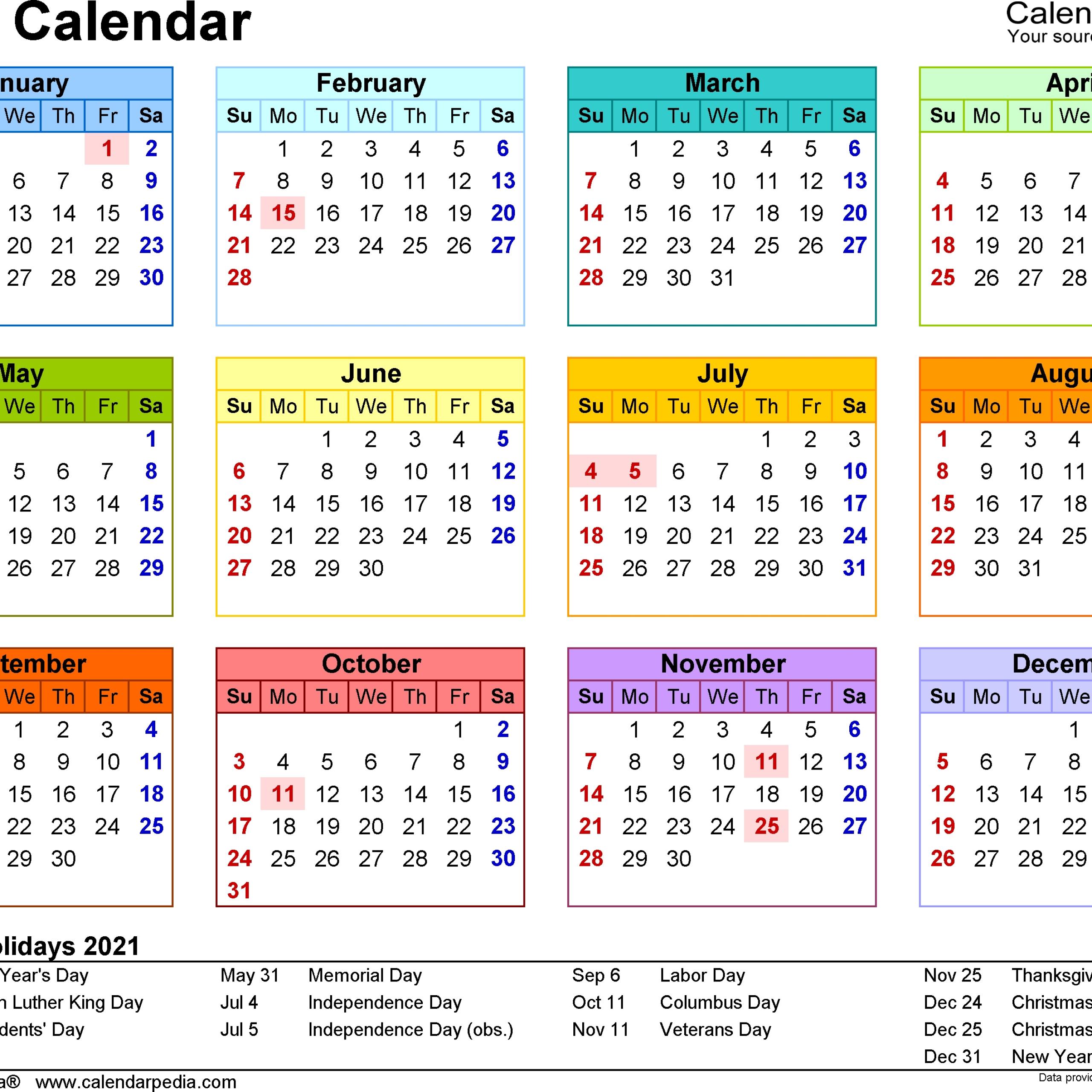 School Calendar 2021   Free 2021 Printable Calendars