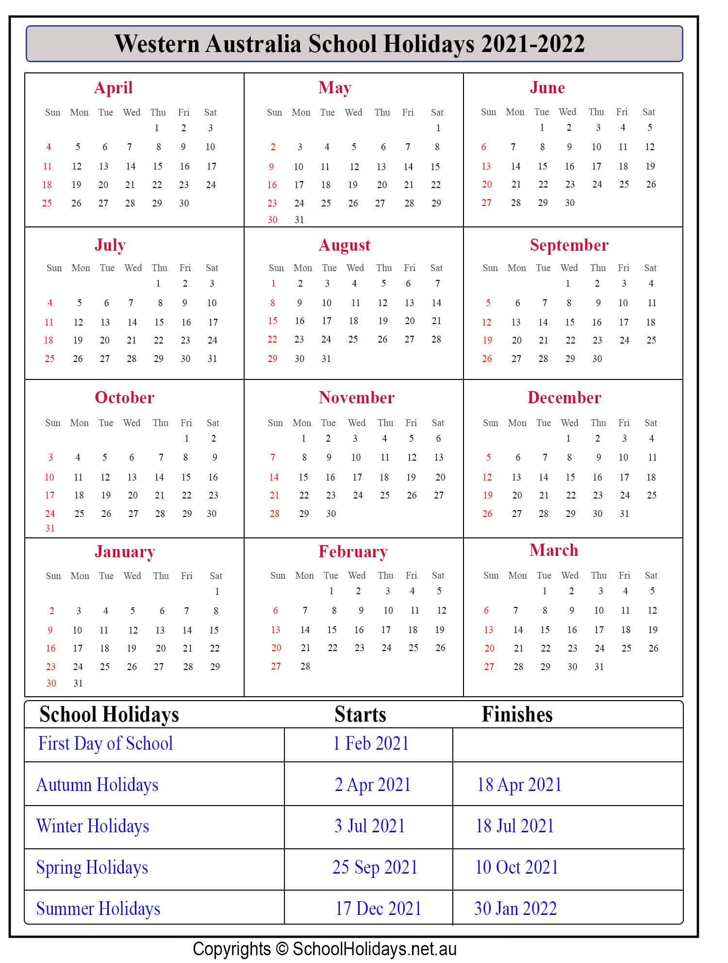School Holidays Qld 2021 | Calendar Printables Free Blank