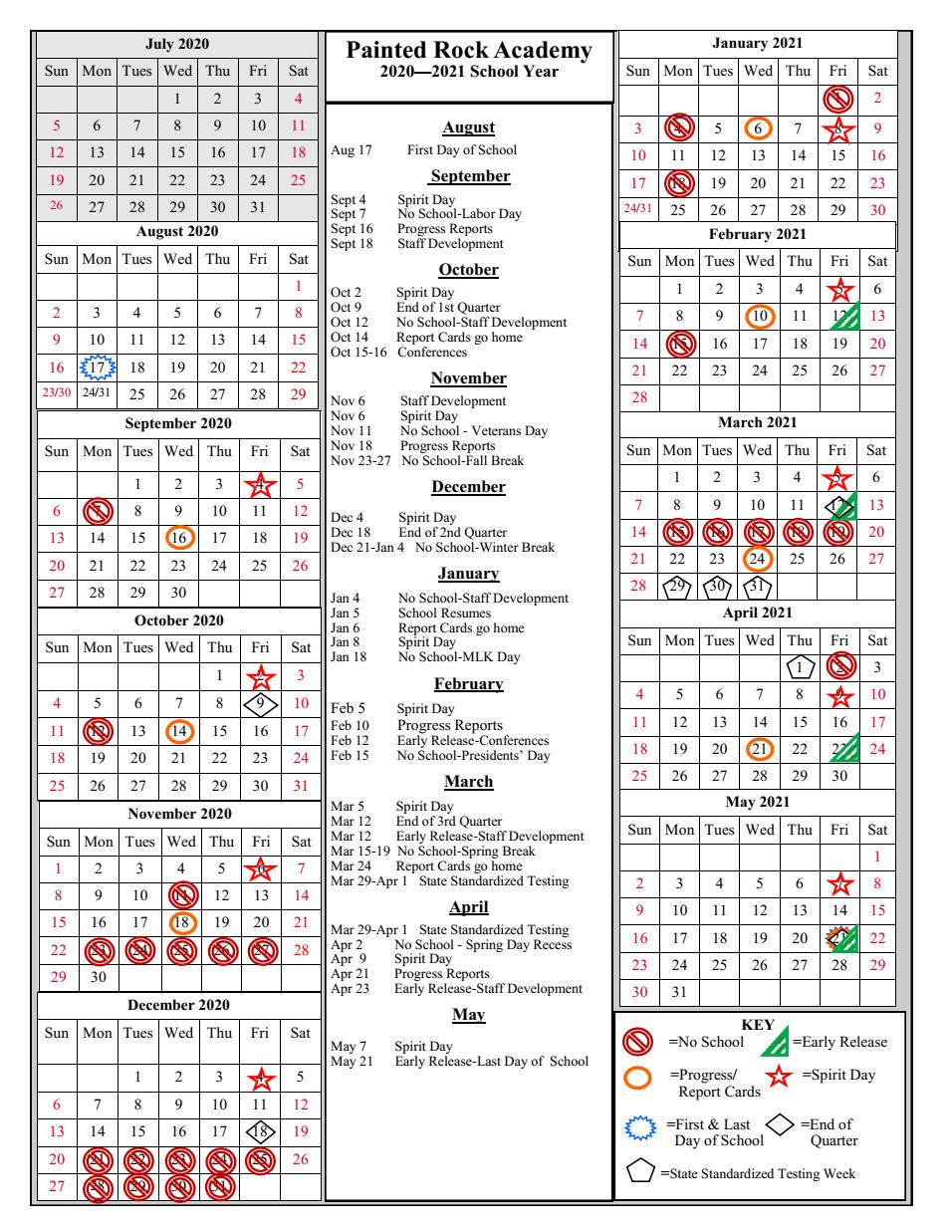 School Year Calendar 2020-2021   Painted Rock Academy