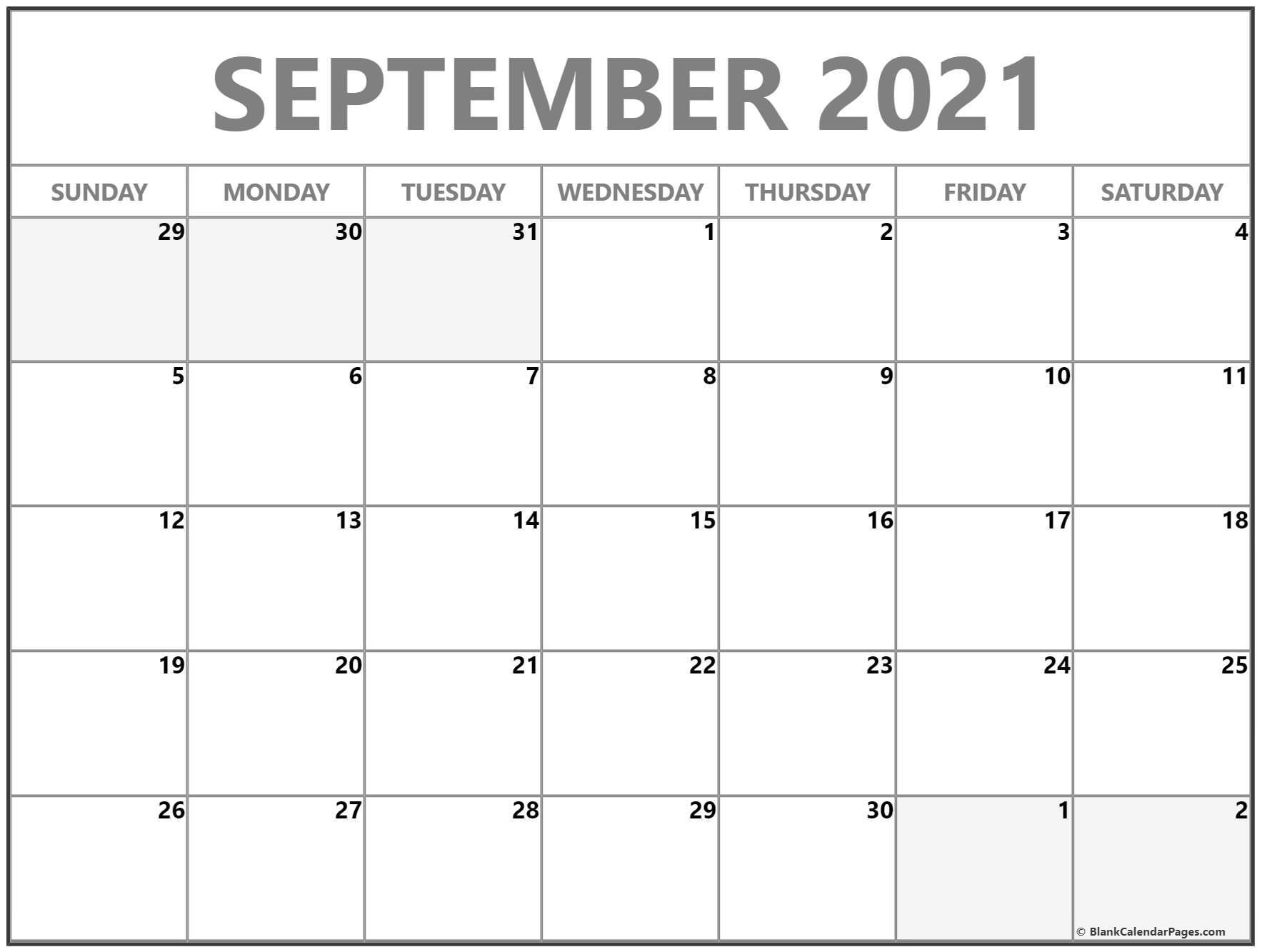 September 2021 Blank Calendar Collection.
