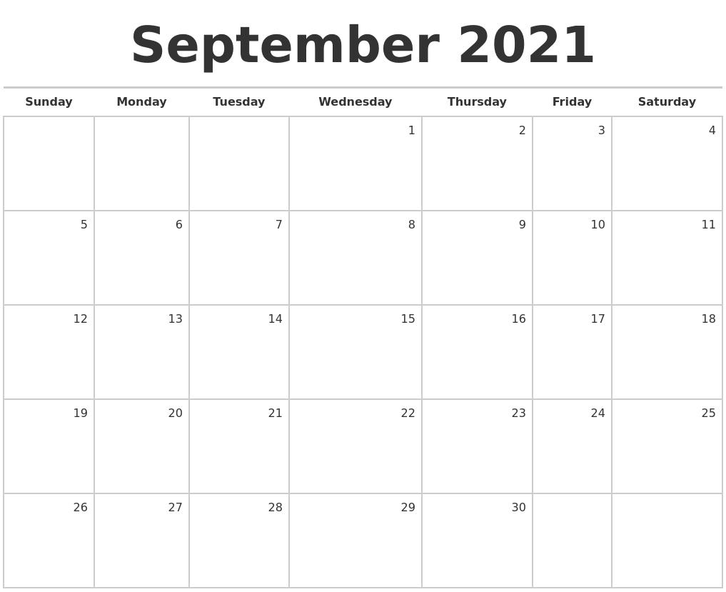 September 2021 Blank Monthly Calendar