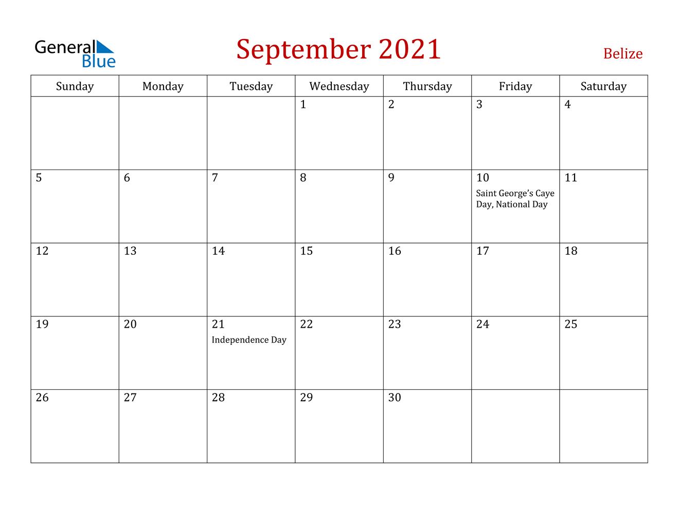 September 2021 Calendar - Belize