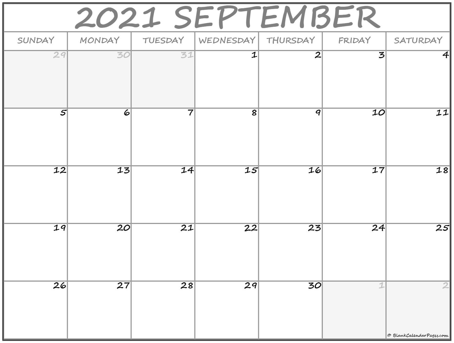 September 2021 Calendar | Free Printable Calendar Templates
