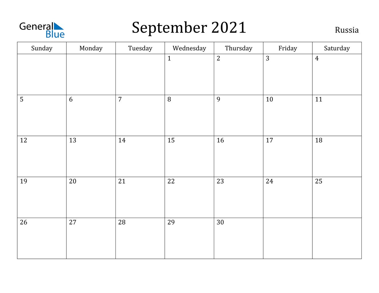 September 2021 Calendar - Russia