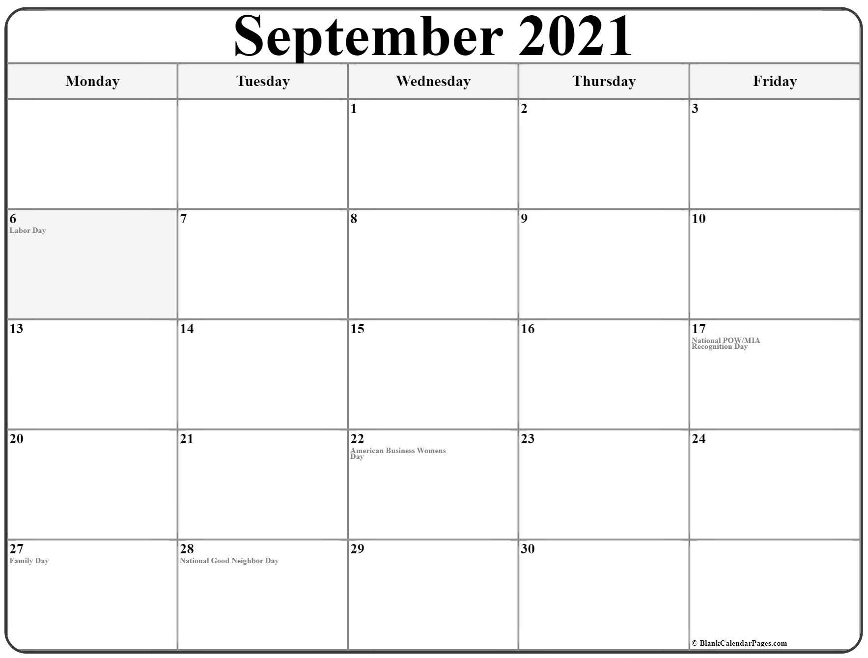 September 2021 Monday Calendar | Monday To Sunday
